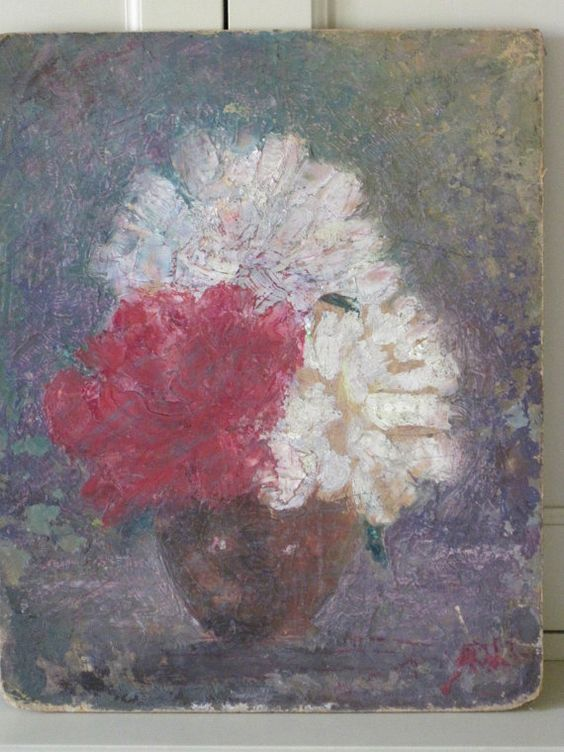 Fabulous Fatigued French Vintage Oil On Board by VintageFrenchFinds, $55.00