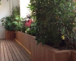 Roof balcony planters central London.
