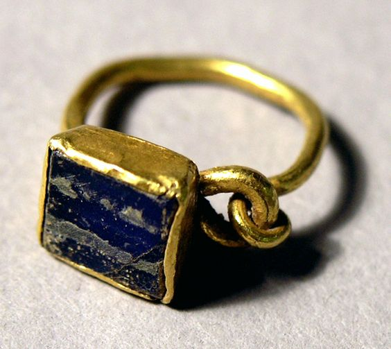 RIng with Blue Stone, Roman 2nd-3rd centuries C.E. Gold, stone: