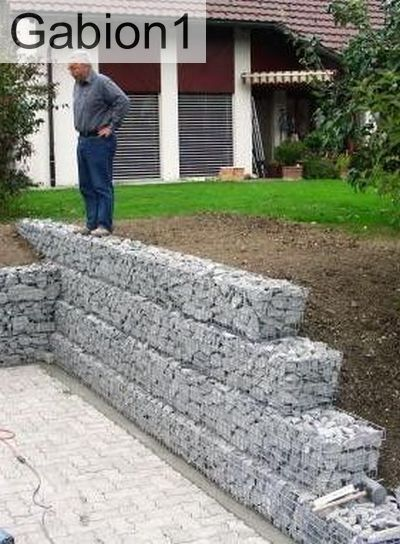 Garden gabion retaining wall ideal diy project http www for Cheapest way to build a house yourself