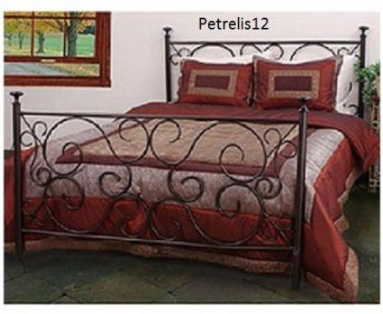 Elegant traditional bronze iron metal bed frame unique steel scrollwork design headboard and - Unique twin bed frames ...