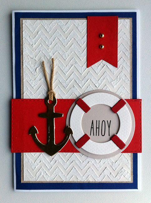 Card nautical anchor lifesaver MFT die set Let´s get nautical #mftstamps - kort marine maritim, nautisk anker redningskrans - embossing paste chevron stencil background - JKE