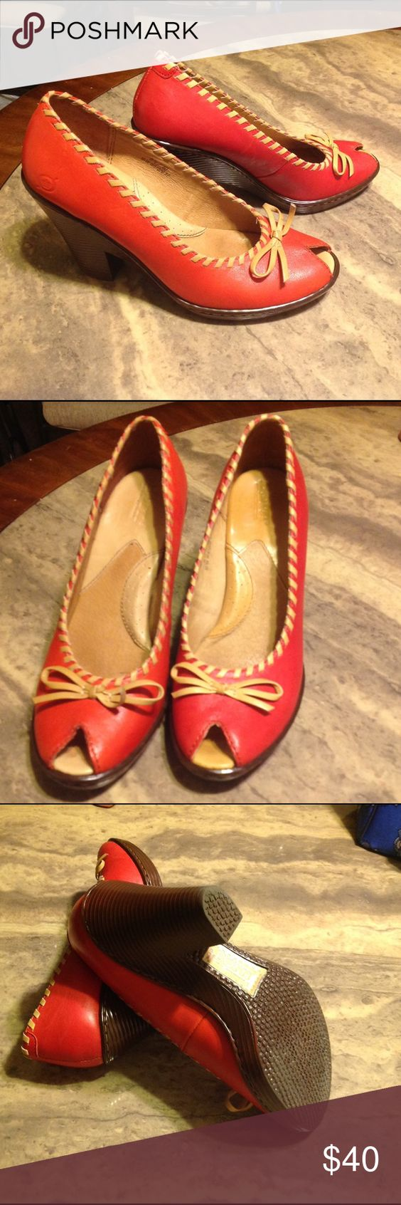 b.oc. by Born wedge heels Cute leather wedge heels, with a peep toe and well maintained. b.o.c. Shoes Heels