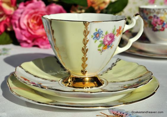 Imperial vintage bone china tea cup floral and yellow