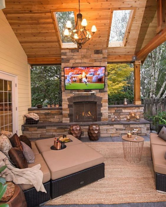 Outdoors living room area