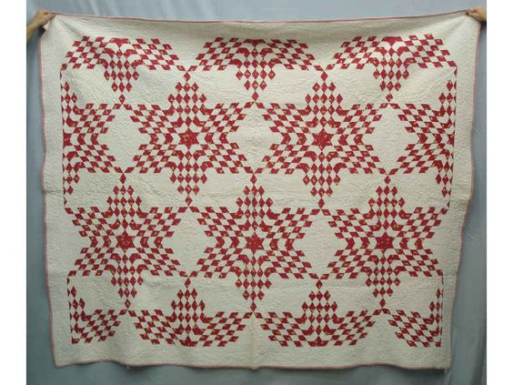 19th C Quilt Red And White Broken Stars Quilts