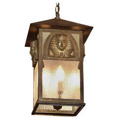 1900s Egyptian Pharaoh Revival Style Lantern with Textured Glass and Four Lights