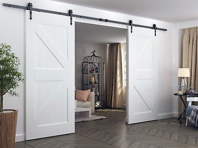 8ft 12ft Rustic Black Double Sliding Barn Door Hardware Arrow Wheel Track Kit Double Sliding Barn Doors Wood Doors Interior Doors Interior