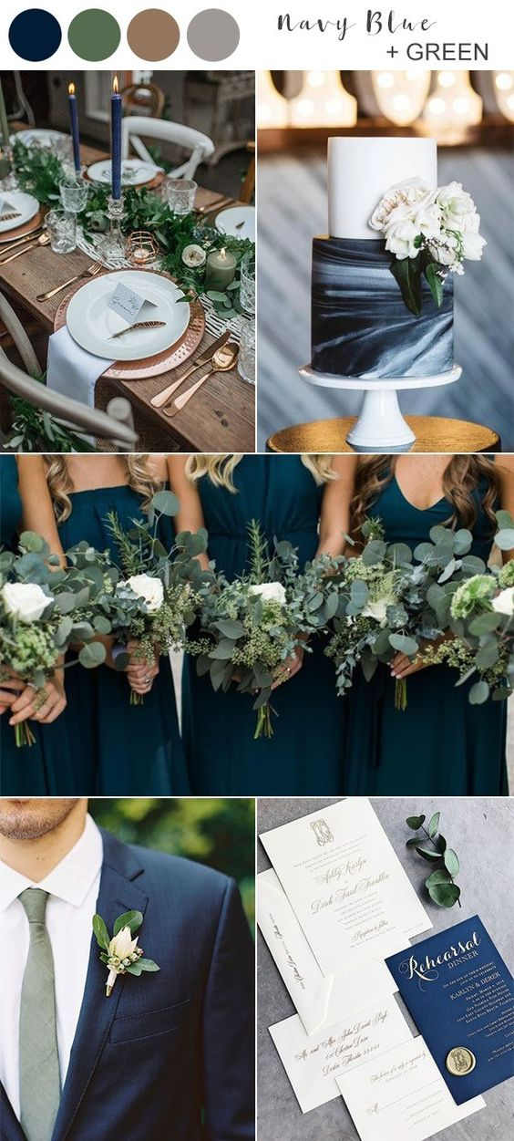 navy blue and green fall wedding color ideas