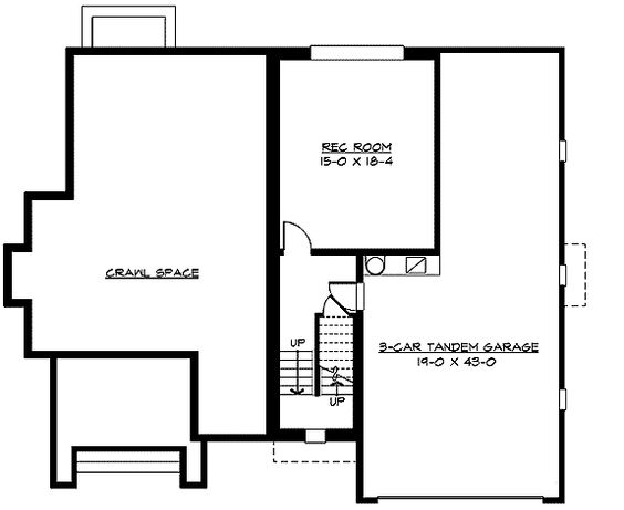 Plan w23350jd 3 or 4 car tandem garage floor plans 1 for Four car garage size