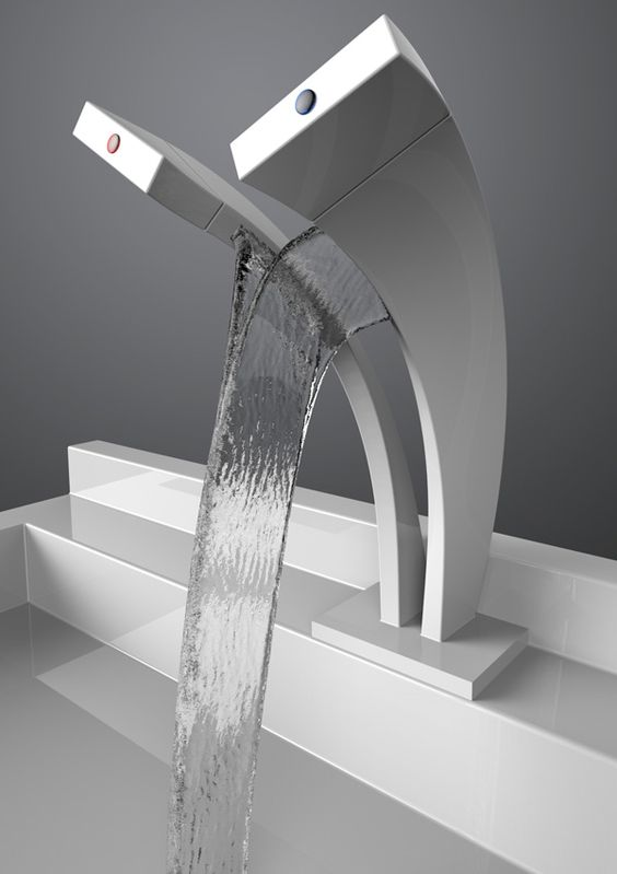 Unusual modern waterfall tap