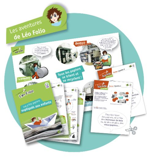 EcoFolio a créé « Les aventures de Léo Folio » un outil pédagogique pour faire découvrir aux enfants l'aventure des papiers et les sensibiliser au tri et au recyclage.     Labellisé par le ministère de l'Ecologie et réalisé en lien avec les acteurs de l'éducation environnementale, il s'adresse principalement aux enfants âgés de 6 à 10 ans.             Il se compose d'un poster pour la classe, de fiche-ateliers pour les élèves et d'un kit destiné à l'enseignant ou à l'animateur.