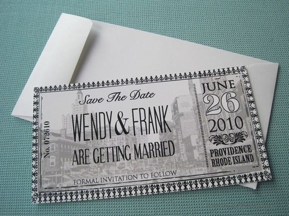 Ticket save the date cards