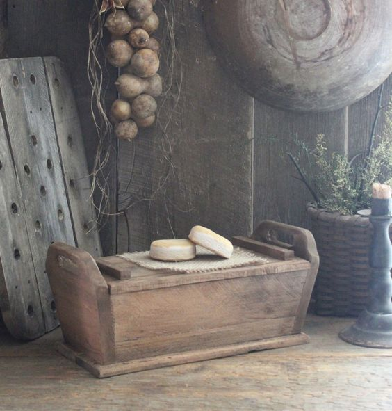Primitive Early Homestead Look Small Lidded Dough Bread Box w Biscuits | eBay