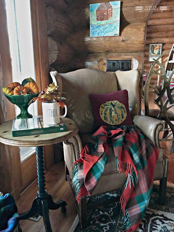 Leather Chair, Thanksgiving Decor, Fall Decor, Plaid Blanket, Rustic Decor, Log Cabin, Cabin Decor