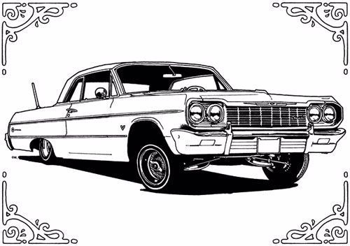 64 Chevy Impala Lowrider Coloring Pages In 2020 Lowrider Art Lowrider Drawings Lowriders