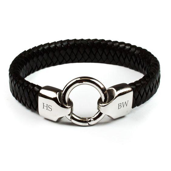 Personalised Men's Infinity Leather Bracelet