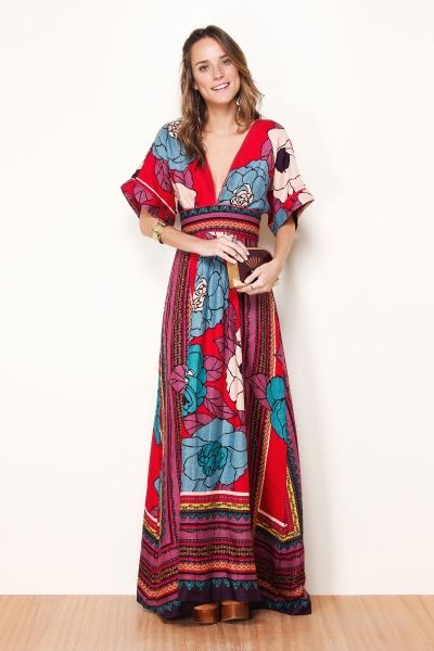 Vestido longo estampado ou liso.: