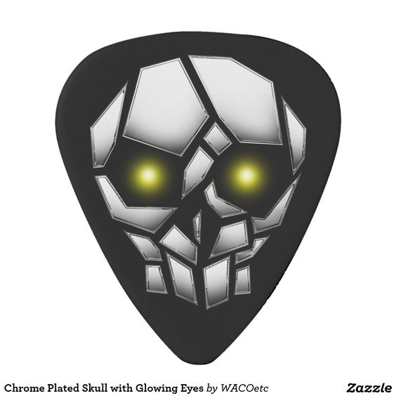 Chrome Plated Skull with Glowing Eyes Pick