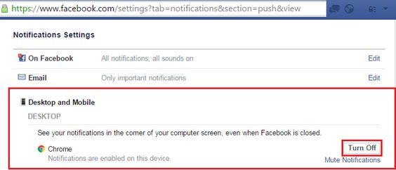 "How to block Facebook's popup browser notifications in Facebook's settings. These are the notifications that popup in the bottom right corner of your browser whether or not you have facebook open at the time. 1) Goto https://www.facebook.com/settings?tab=notifications&section=push&view and you should see the Facebook Notifications Settings screen as above 2) Click the ""Turn Off"" button, as outlined in red and that should turn off the ""Push"" notifications to your browser."