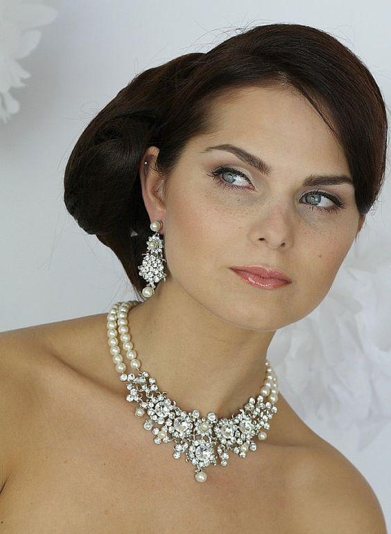 Colar de casamento, pérolas e cristais colar nupcial, Colar do casamento do vintage, jóia nupcial, pérolas, casamento Pérola Colar-Style