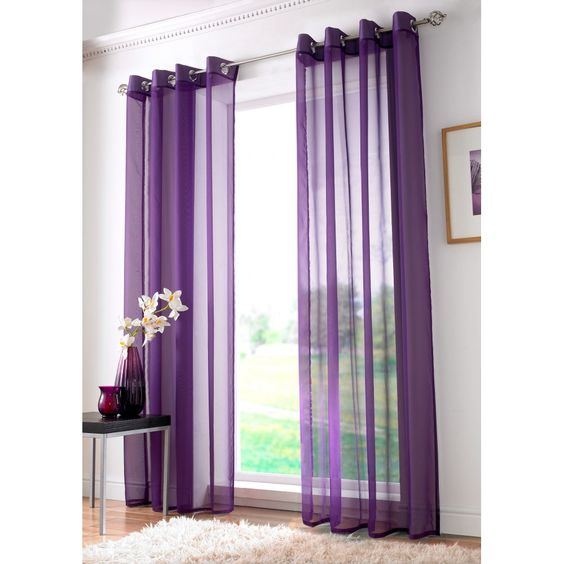 Alan symonds Plain ringtop readymade voile panel - purple. Available now at www.emporiumhomeinteriors.co.uk #curtains #homedecor #home