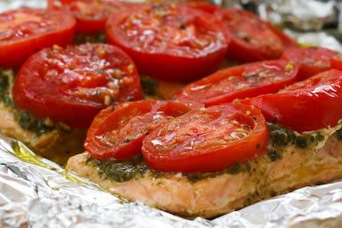 Foil-Baked Salmon Recipe with Basil Pesto and Tomatoes