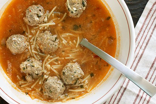 Meatball and Spaghetti Soup - this would be great for your kid to have for lunch at school!