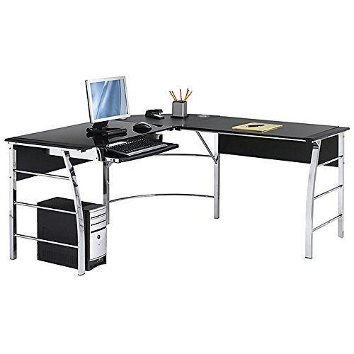 Realspace Mezza L Shaped Glass Computer Desk Black Chr Https Www Amazon Com Dp B00nmsmlok Ref Glass Computer Desks Diy Computer Desk Glass Desk Office