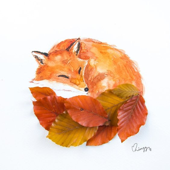 """Limzy on Instagram: """"Let every fox take care of its own tail. 🦊 Seems that the squirrel's bushy leaf tail (previous artwork) can be a fox's too! 🍂"""""""