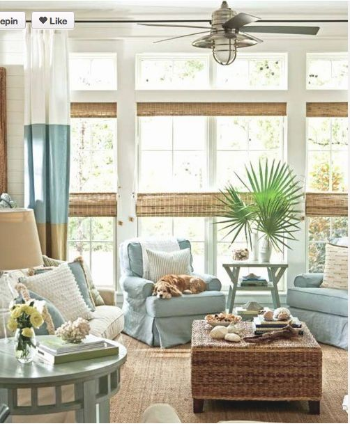 coastal living room. I need a lake house. Love the nautical fan and bamboo shades for PGI house are growing on me.: