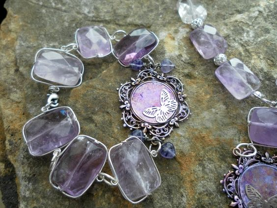 Ametrine bracelet with customised butterfly pendant  looking-glass-jewellery.com
