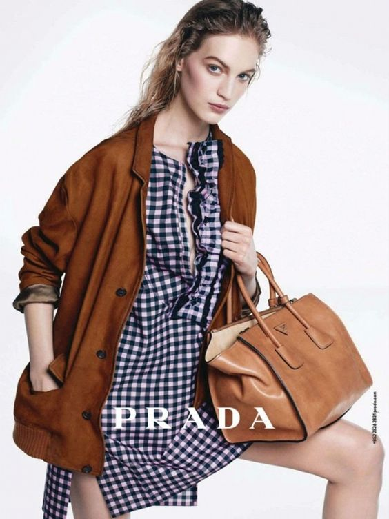 prada purses outlet price - PRADA PRE FALL 2013 AD CAMPAIGN Blue White Gingham DRESS TAN BROWN ...
