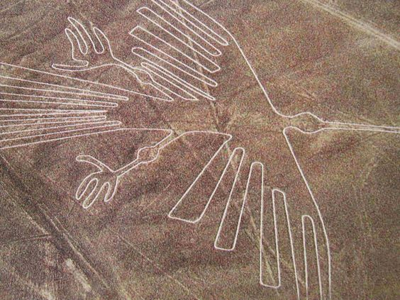 Nazca lines. So big, they can only be seen from sky. Who draw them?: