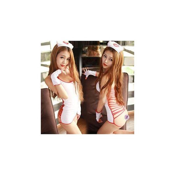 Nurse Lingerie Costume (£8.95) ❤ liked on Polyvore featuring costumes, innerwear, women, nurse costume, womens halloween costumes, lady costumes, nurse halloween costume and womens costumes