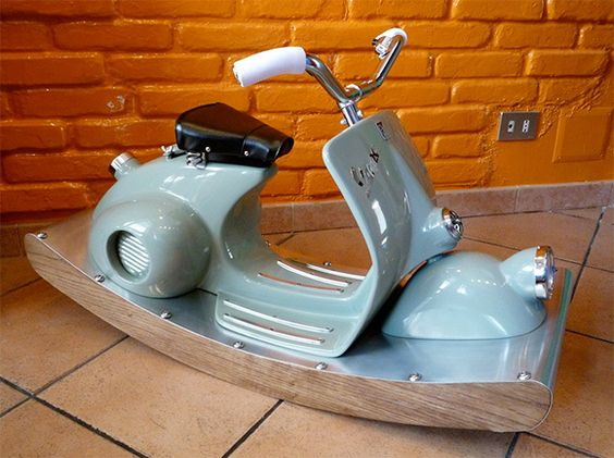 Repurposed Rocking Horse - made out of an old Vespa!!!  Out of my DIY range but SO awesome