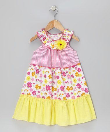 Take a look at this Fuchsia & Yellow Gingham Floral Dress - Infant, Toddler & Girls by Rare Editions on #zulily today!