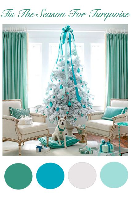 Teal christmas turquoise and teal christmas tree on pinterest for Christmas tree color schemes