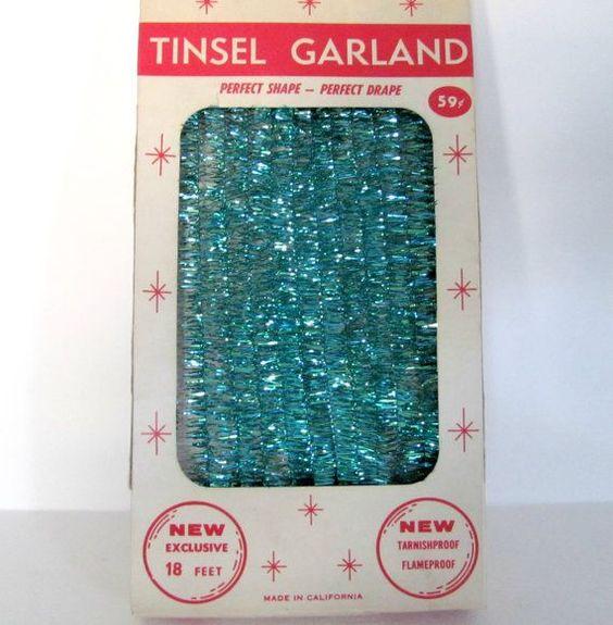 Vintage christmas garland  s tinsel