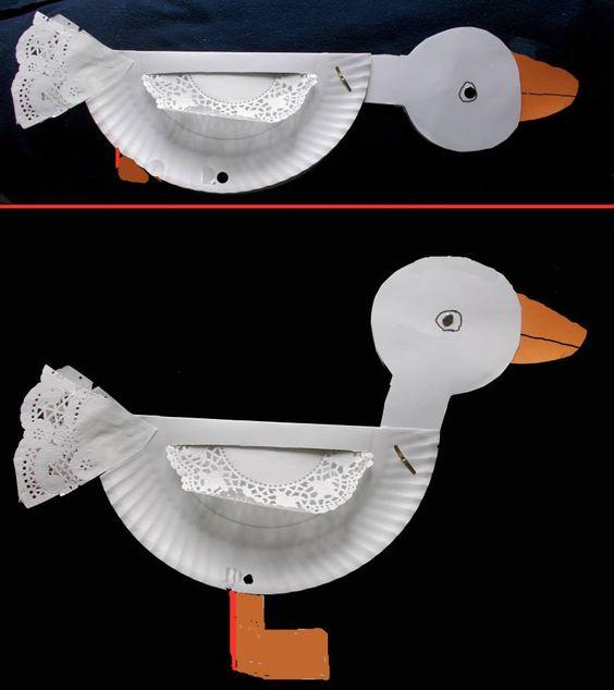 Ente aus Pappteller und Tortenpapier