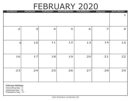 Printable Calendar Feb 2020 In 2020 With Images Printable