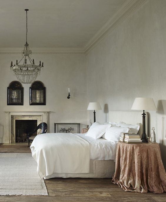 Bedroom in Rose Uniacke's Classic Designed Minimal Home in London. #bedroom #serene #oldworld
