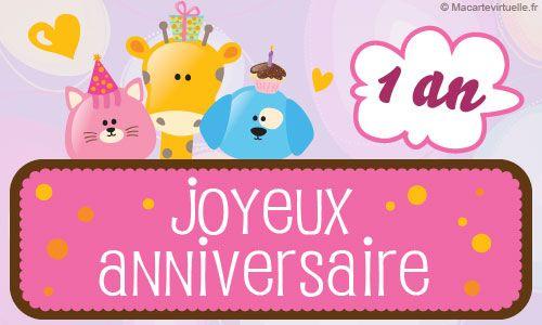 Envoyez Une E Card Anniversaire 1 An Petits Animaux Carte Anniversaire Musicale Carte Anniversaire Carte Anniversaire Enfant