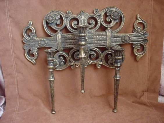 Vintage Homco Triple Candle Wall Sconce Darkened Gold-tone Castle Gothic 1978 Finds from my ...
