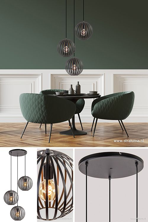 Moderne 3 Lichts Hanglamp Zwarte Bol Koffietafel Hanglamp Woonkamerlampen
