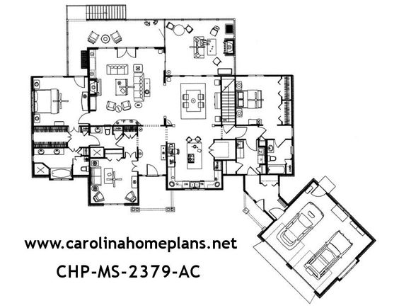 Spacious open floor plan with split bedroom layout this for Craftsman style open floor plans