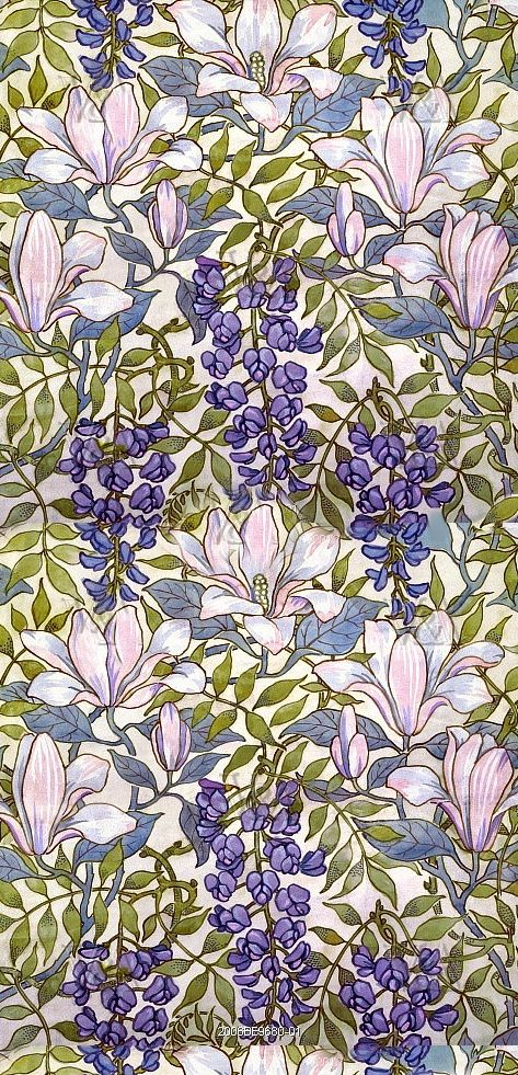 French Chateau dolls house wallpaper purples floral pattern - quality paper from…