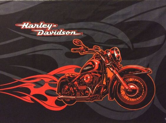 Harley Davidson Signature Fabric Panel Flames Black Gray Shield 21 X 35 New Crafts Fabric Ebay Harley Davidson Fabric Harley Davidson Harley