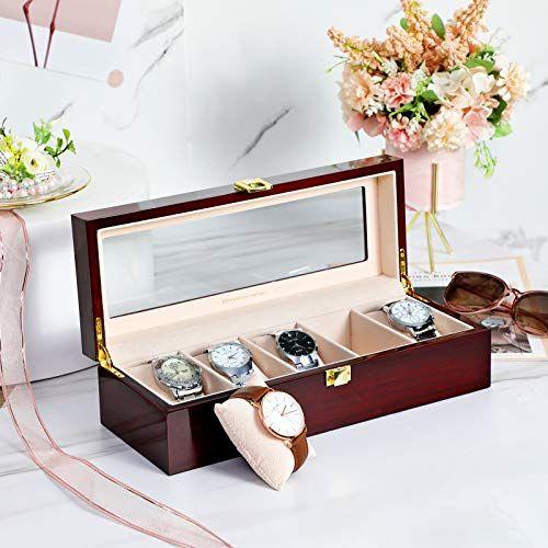 Songmics Caja De Relojes Con 5 Compartimientos Estuche De Madera Para Relojes Tapa De Vidrio Almohadillas Extraíbles Forro De Caja De Reloj Cajas Almohada