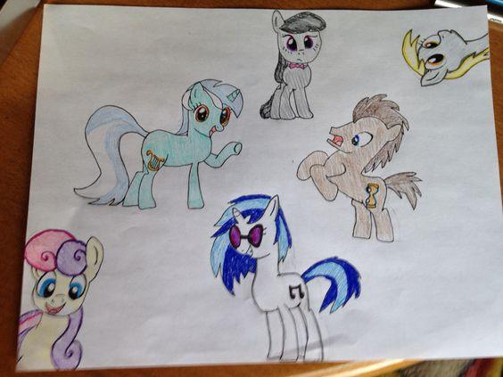 Mlp drawing mane 6 background ponies